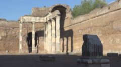 Hadrian's Villa, Tivoli, Italy, view of doric pillars Stock Footage