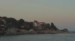 Sunset at the seashore town Stock Footage
