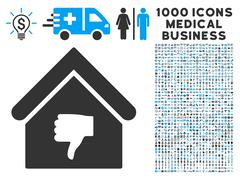 Thumb Down Building Icon with 1000 Medical Business Symbols Stock Illustration
