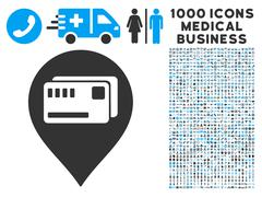 Tickets Map Marker Icon with 1000 Medical Business Pictograms Piirros