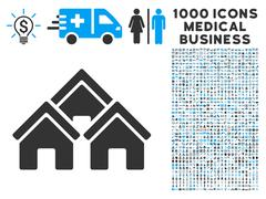 Town Buildings Icon with 1000 Medical Business Symbols Stock Illustration