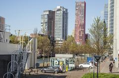 View to background of Rotterdam city harbour, future architecture concept Stock Photos