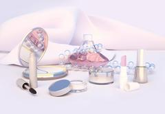 Set of make-up products on light background. Piirros