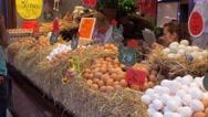 Various eggs in the market La Boqueria in Barcelona Stock Footage