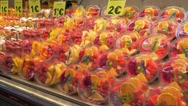 Fruits in the market La Boqueria in Barcelona Stock Footage