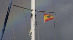 Spanish Flag with Rainbow Stock Footage