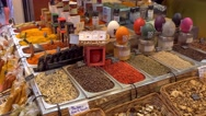 Various spices in the market La Boqueria in Barcelona Stock Footage