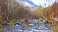 Small river spring flowing through rocks Stock Footage