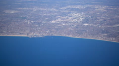 The South Bay section of Los Angeles as seen from a passenger airplane. Stock Footage