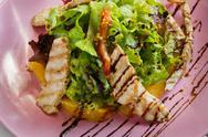 Healthy restaurant food, turkey salad closeup Stock Photos