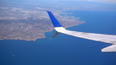 The wing of an airplane over Los Angeles County, California. Stock Footage