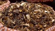 Mushrooms in the market La Boqueria in Barcelona Stock Footage