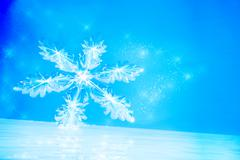Winter background with Snowflake on ice. Stock Illustration