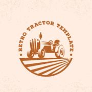 Retro Tractor Silhouette Vector Logo or Emblem Template. Vintage Farm Sign with Stock Illustration