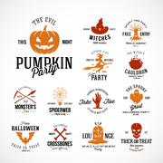 Vintage Halloween Vector Badges or Labels Templates. Pumpkin, Ghost, Skull Piirros