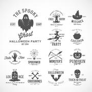 Vintage Halloween Vector Badges or Labels Templates. Witch, Ghost, Skull, Grave Stock Illustration