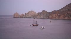 The peninsula near El Arco de Cabo in Cabo San Lucas, Mexico. Stock Footage
