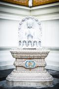 Buddha's enlightenment marble statue in Pariwat temple Bangkok Thailand Stock Photos