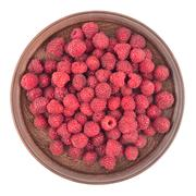 Raspberries in plate isolated on white background cutout. Stock Photos