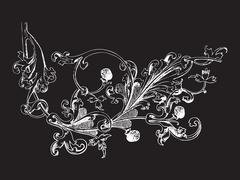 Hand drawn illustration of raspberry branch Baroque vector Piirros