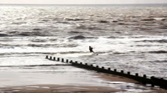 Kiteboarders at Cleveleys on the Lancashire coast Stock Footage