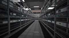 Data Center Server Room 3D Animation 2 Stock Footage