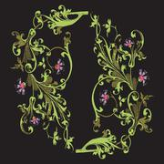 Hand drawn illustration of twig with flowers and leaves Baroque vector Piirros