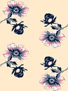 Wallpaper seamless floral vintage grunge background. Branch with roses Stock Illustration