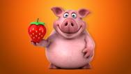 Fun pig - 3D Animation, orange background Stock Footage