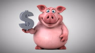 Fun pig - 3D Animation, dollar Stock Footage