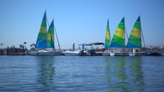 Sailboats on Mission Bay, San Diego, California. Stock Footage