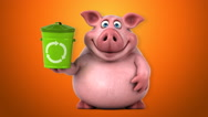 Fun pig - 3D Animation, orange background, trash Stock Footage