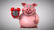 Fun pig - 3D Animation, alarm Stock Footage