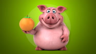 Fun pig - 3D Animation, green background Stock Footage