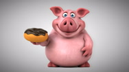 Fun pig - 3D Animation Stock Footage