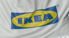 Close up of waving flag with Ikea logo, seamless loop, blue background Stock Footage