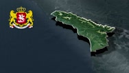 Abkhazia with Coat Of Arms Animation Map Stock Footage