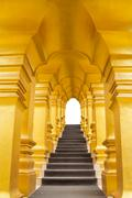 Golden arch over the stair on white with clipping path Stock Photos