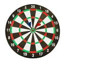 Dartboard with red and blue darts isolated on white background with clipping  Stock Photos