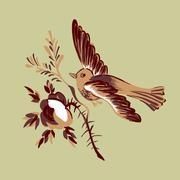 Bird flying isolated beige branch flower rose greeting card celebrate Stock Illustration