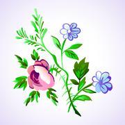 Floral flower set vector isolated white doodle vintage element decorative Stock Illustration