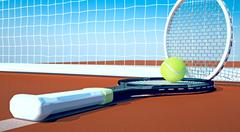 Tennis; racket; tennis clay court, sky Stock Illustration