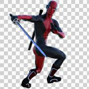 A young strong man in a red and black full latex suit Stock Illustration