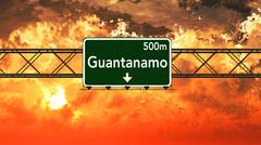 Cuba Highway Sign in the Sunset Stock Illustration