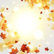 Bright autumn  background  with maple leaves Stock Illustration