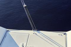 Permanent backstay is attached to the top of the mast Stock Photos