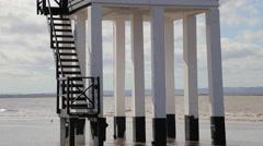 The Low Lighthouse, Burnham on Sea, Somerset, UK Stock Footage