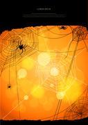 Orange background with spiders Stock Illustration