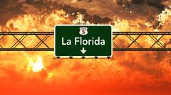 La Florida Chile Highway Sign in the Sunset Stock Illustration