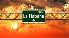 Havana Cuba Highway Sign in the Sunset Stock Illustration